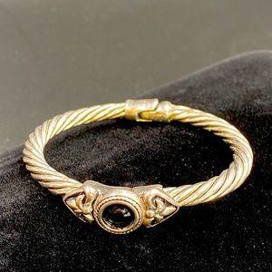 Hinged Twisted Silvertone w Black Stone Bracelet
